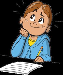 Мальчик думает и пишет